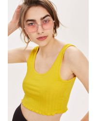 c69234167d0339 Lyst - TOPSHOP Ribbed Cropped Cami in Yellow