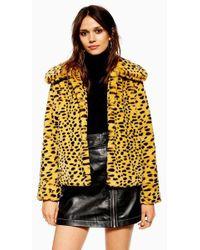 TOPSHOP - Cheetah Print Faux Fur Coat - Lyst