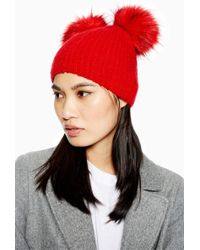 b614d144308 Lyst - TOPSHOP Bonjour Embroidered Beanie in Black