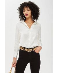 TOPSHOP - Petite Striped Shirt - Lyst