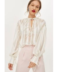 TOPSHOP - Striped Gypsy Blouse - Lyst