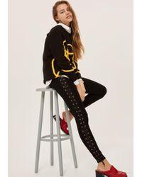923274cb1a535 TOPSHOP Petite Textured Wetlook Leggings in Black - Lyst