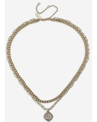 TOPSHOP - coin And Chain Multirow Necklace - Lyst
