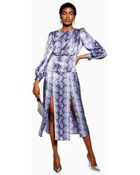 280e7b7e83 TOPSHOP Corset Side Floral Tea Dress in Black - Lyst