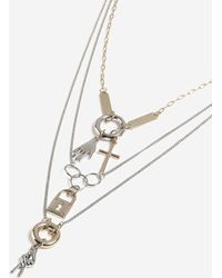 TOPSHOP - multi Row Charm Necklace - Lyst