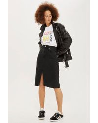 TOPSHOP - Moto Black Midi Denim Skirt - Lyst