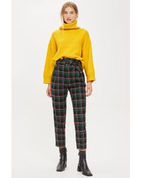 TOPSHOP - Tall Textured Check Tapered Trousers - Lyst