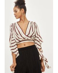 Love - Stripe Frill Sleeve Crossover Top By - Lyst