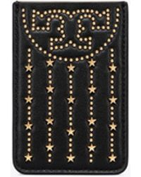 Tory Burch - Fleming Stud Card Pocket Case (black/silver) Credit Card Wallet - Lyst