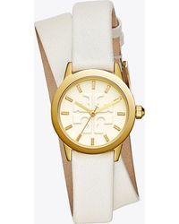 Tory Burch - Gigi Double-wrap Watch, Ivory Leather/gold-tone, 28 Mm - Lyst