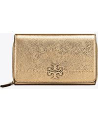 Tory Burch - Mcgraw Metallic Flat Wallet Cross-body - Lyst