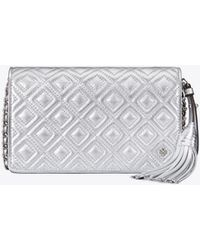 Tory Burch - Fleming Metallic Flat Wallet Cross-body - Lyst