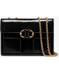 Tory Burch - Gemini Link Patent Medium Chain Shoulder Bag - Lyst