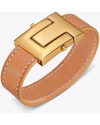 Tory Burch - T-lock Leather Bracelet - Lyst