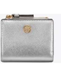 Tory Burch - Robinson Metallic Mini Wallet - Lyst