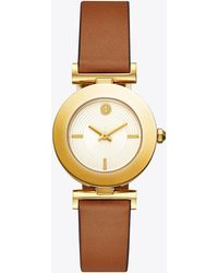 Tory Burch - Sawyer Twist Round Watch, Brown/orange Leather, Gold Tone, 29 X 29 Mm - Lyst