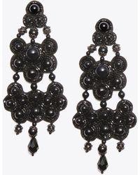 Tory Burch - Leather Backed Chandelier Earrings - Lyst