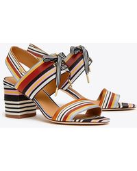 8378c6880 Tory Burch Graham Striped Mules in Brown - Lyst