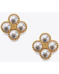 Tory Burch - Rope Clover Pearl Stud Earring - Lyst