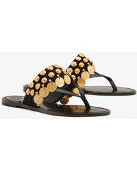 2a23f59b7ed7 Tory Burch Penny Flat Thong Sandal in Black - Lyst