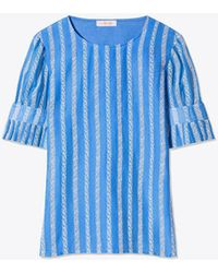 Tory Burch - Embroidered Organza T-shirt - Lyst
