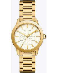 Tory Burch - Gigi Watch, Gold Tone/cream, 36 X 42 Mm - Lyst