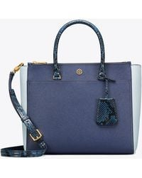 Tory Burch - Robinson Mixed-materials Double-zip Tote - Lyst