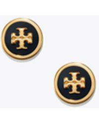 Tory Burch - Lacquered Logo Stud Earring - Lyst