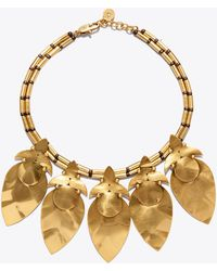 Tory Burch - Hammered Metal Leaf Short Necklace - Lyst