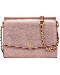 Tory Burch - Robinson Metallic Convertible Shoulder Bag - Lyst