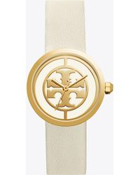 Tory Burch - Reva Leather 36mm Ivory/gold - Lyst