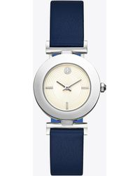Tory Burch - Sawyer Twist Round Watch, Navy/blue Leather, Stainless Steel, 29 X 29 Mm - Lyst
