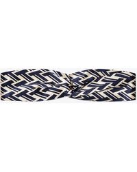 Tory Burch - T Lattice Silk Headband - Lyst