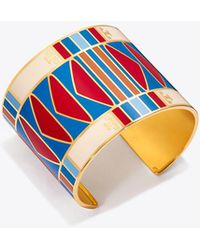Tory Burch - Geo Striped Wide Cuff - Lyst