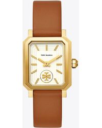 Tory Burch - Robinson Watch, Brown Leather/gold-tone, 27 X 29 Mm - Lyst