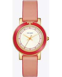 Tory Burch - Ellsworth Watch, Coral Leather/gold-tone, 36mm - Lyst