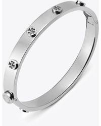 Tory Burch - Logo Stud Hinge Bracelet - Lyst