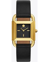 Tory Burch | Phipps Watch, Black Leather/gold-tone, 29 X 41 Mm | Lyst
