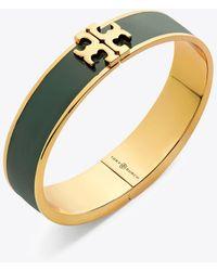 Tory Burch - Raised Logo Thin Enamel Hinged Bracelet - Lyst
