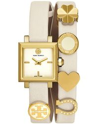 Tory Burch - Saucy Double-wrap Watch, Ivory Leather/gold-tone, 25mm - Lyst