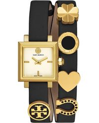 Tory Burch - Saucy Double-wrap Watch, Black Leather/ Gold-tone, 25mm - Lyst