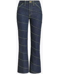 Tory Burch - Asymmetric Stitch Denim Pant - Lyst
