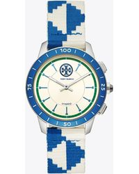 Tory Burch - Collins Hybrid Smartwatch, Blue/ivory/navy/stainless Steel, 38 Mm - Lyst