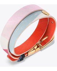 Tory Burch - Printed Reversible Double-wrap Bracelet - Lyst