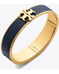 Tory Burch - Raised Logo Thin Enamel Hinged Bracelet - Lyst