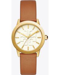 Tory Burch - Gigi Watch, Brown Leather/gold Tone, 36 X 42 Mm - Lyst
