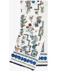 Tory Burch - Meadow Folly Embroidered Oblong Scarf - Lyst