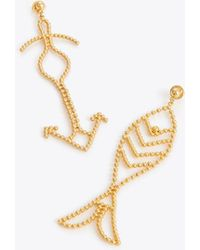 Tory Burch - Beaded Fish Mismatched Statement Earring - Lyst