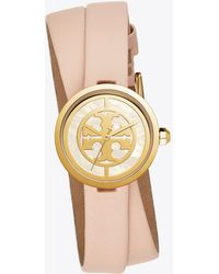 Tory Burch - Reva Double-wrap Watch, Nude Leather/gold Tone, 28 Mm - Lyst