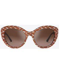 Tory Burch - Patterned Serif-t Cat-eye Sunglasses - Lyst